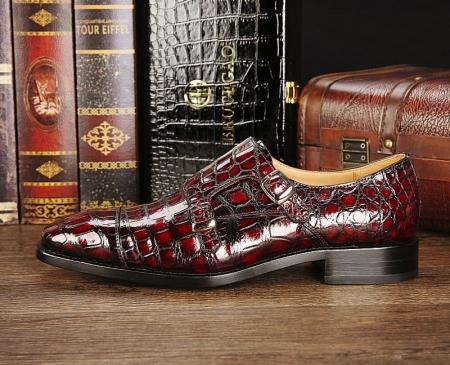 Men's Alligator Leather Double Buckle Monk Strap Cap-Toe Dress Shoes-Side