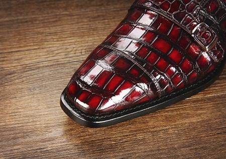 Men's Alligator Leather Double Buckle Monk Strap Cap-Toe Dress Shoes-Toe