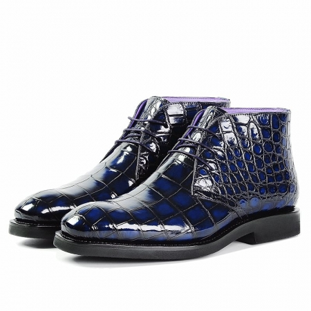 Men's Alligator Leather Lace Up Chukka Boots-Blue