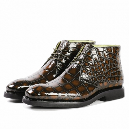 Men's Alligator Leather Lace Up Chukka Boots-Brown