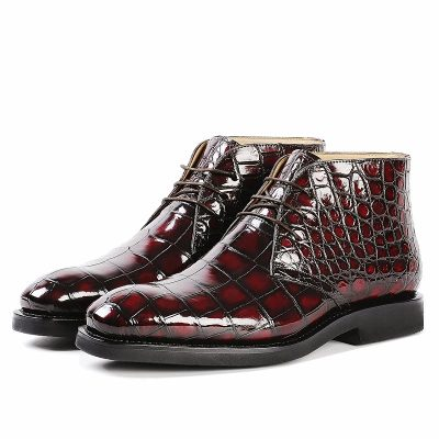 Men's Alligator Leather Lace Up Chukka Boots-Burgundy