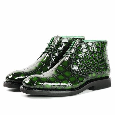 Men's Alligator Leather Lace Up Chukka Boots-Green