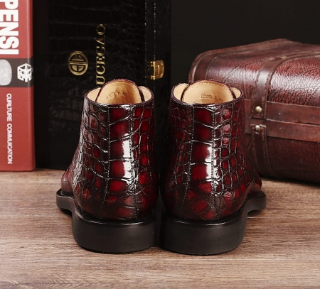Men's Alligator Leather Lace Up Chukka Boots-Heel