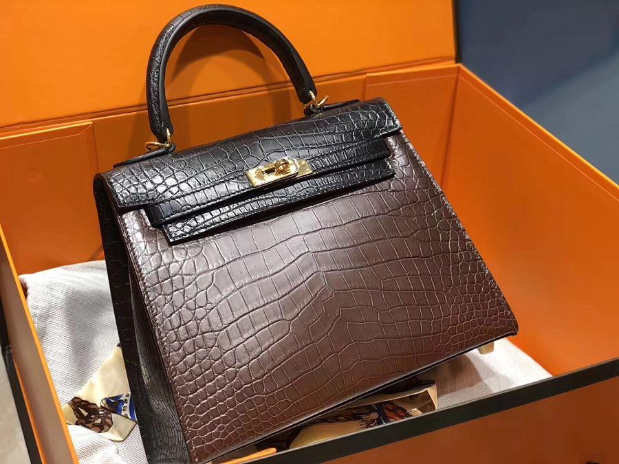 New Arrivals Alligator handbag-Black and Brown