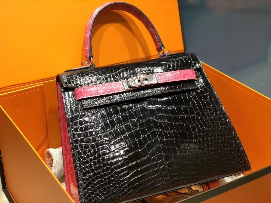 New Arrivals Alligator handbag-Black and Pink