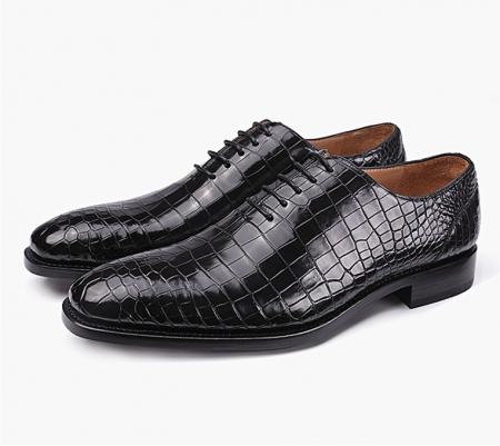 Classic Alligator Leather Wholecut Dress Shoes-1