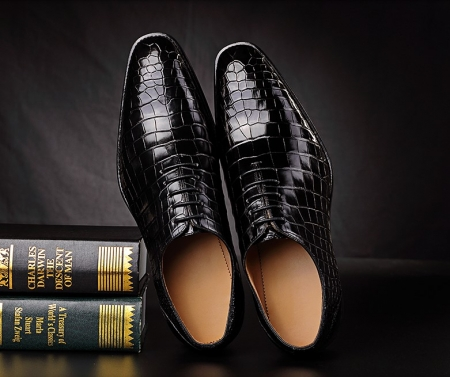 Classic Alligator Leather Wholecut Dress Shoes for MenClassic Alligator Leather Wholecut Dress Shoes for Men