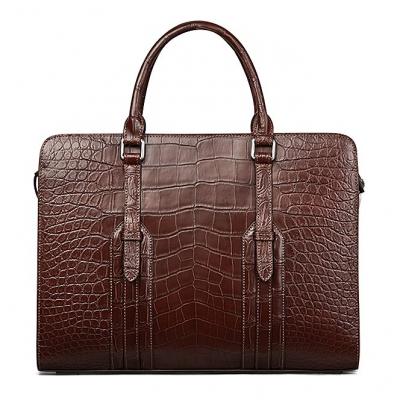 Genuine Alligator Leather Laptop Bag Briefcase Shoulder Bag-Brown