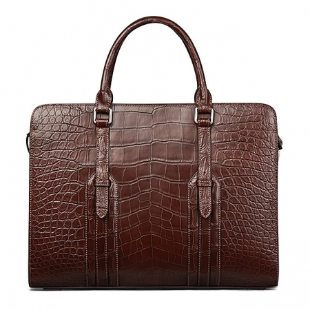 Genuine Alligator Leather Laptop Bag Briefcase Shoulder Bag-Brown