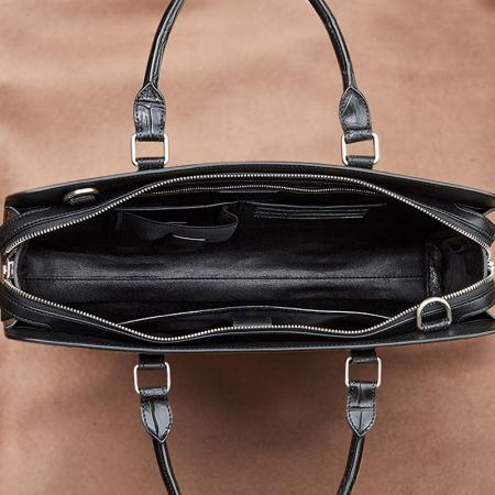 Genuine Alligator Leather Laptop Bag Briefcase Shoulder Bag-Inside