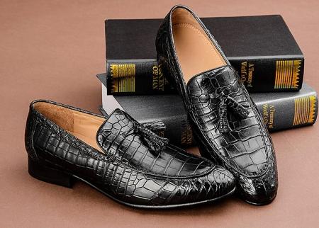 Handmade Alligator Leather Tassel Slip-On Loafers