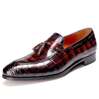 Handmade Alligator Leather Tassel Slip-On Loafers Penny Loafers