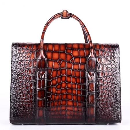Mens Alligator Leather Briefcase Messenger Bag Business Bag-Back