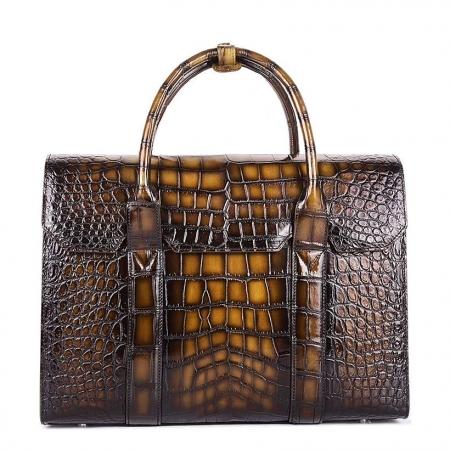 Mens Alligator Leather Briefcase Messenger Bag Business Bag-Brown