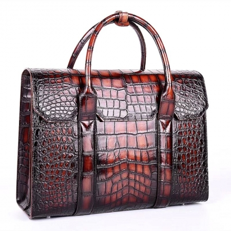 Mens Alligator Leather Briefcase Messenger Bag Business Bag-Micro Side