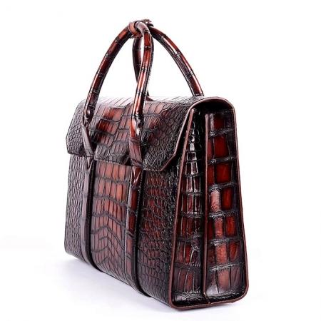 Mens Alligator Leather Briefcase Messenger Bag Business Bag-Side