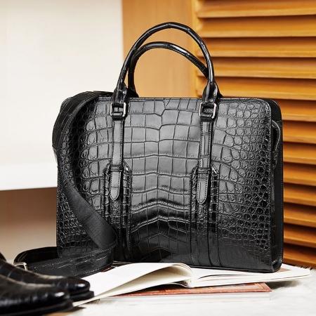 Men's Sturdy Genuine Alligator Leather Laptop Bag Briefcase Shoulder Bag