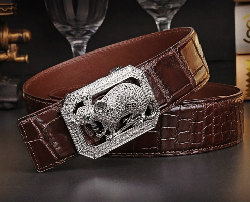 BRUCEGAO's crocodile leather belt
