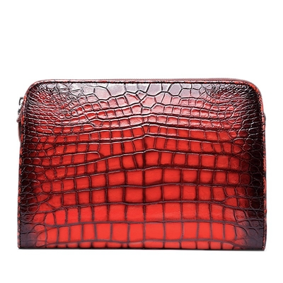 Alligator Portfolio Briefcase Large Capacity Clutch Bag with Hand Strap