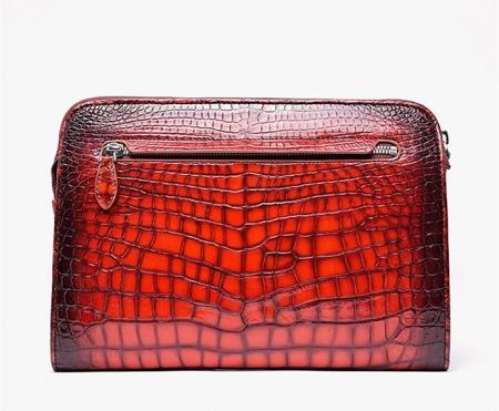 Alligator Portfolio Briefcase Large Capacity Clutch Bag with Hand Strap-Back