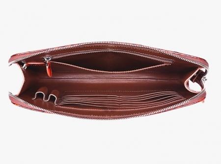 Alligator Portfolio Briefcase Large Capacity Clutch Bag with Hand Strap-Inside
