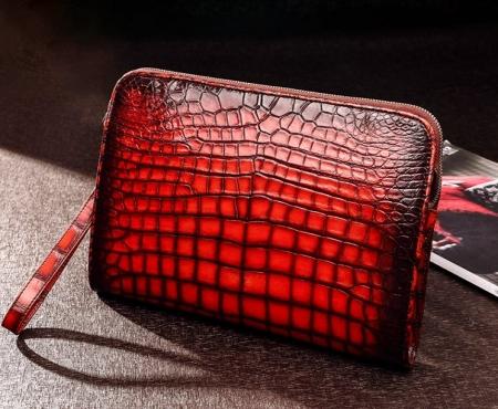 Alligator Portfolio Briefcase Large Capacity Clutch Bag with Hand Strap for Men