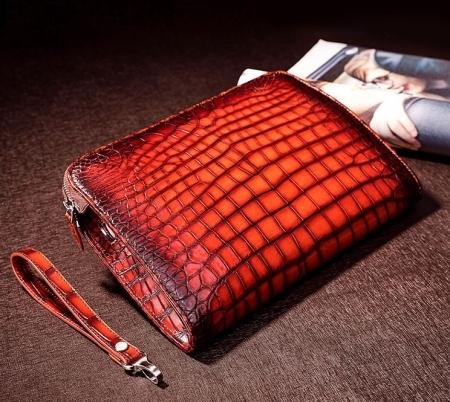 Genuine Alligator Portfolio Briefcase Large Capacity Clutch Bag with Hand Strap