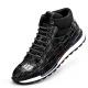 Handcrafted Men's Premium Alligator Skin Running Shoes-Black