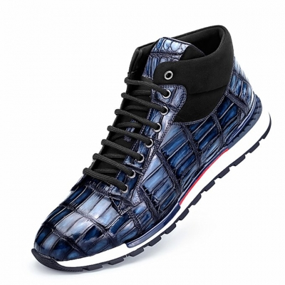 Handcrafted Men's Premium Alligator Skin Running Shoes-Blue
