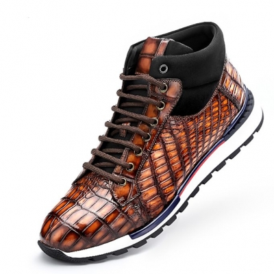 Handcrafted Men's Premium Alligator Skin Running Shoes-Brown