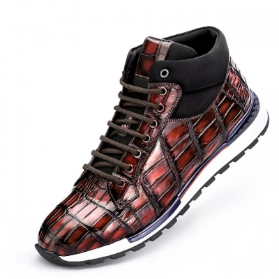 Handcrafted Men's Premium Alligator Skin Running Shoes-Burgundy