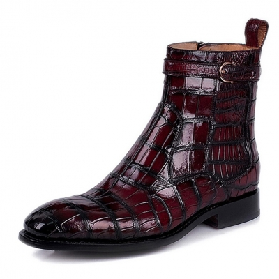 Casual Mens Alligator Leather Boots With Zipper on Side