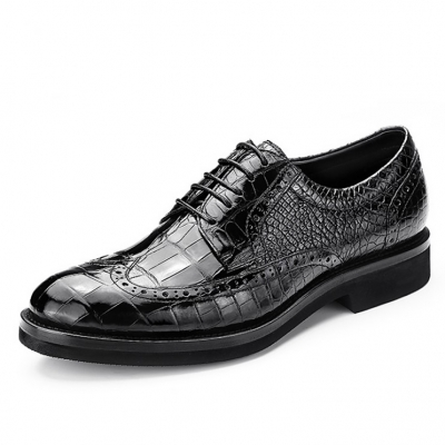 Classic Alligator Leather Dress Shoes Lace up Wingtip Brogue Shoes