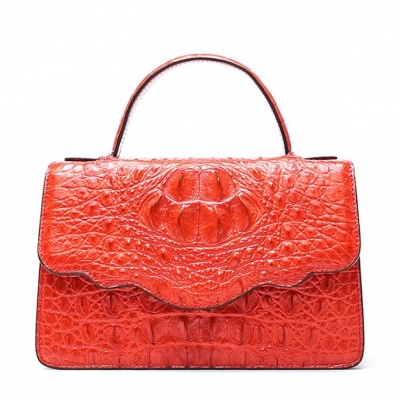 Crocodile Leather Handbag Shoulder Purse Bag-Red