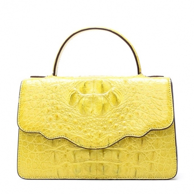 Crocodile Leather Handbag Shoulder Purse Bag-Yellow