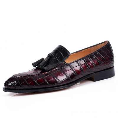 Mens Alligator Tassel Loafer Formal Alligator Slip-On Shoes