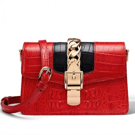 Stylish Crocodile Leather Strap Flap Shoulder Bag Crossbody Bag