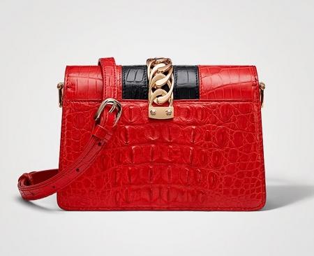 Stylish Crocodile Leather Strap Flap Shoulder Bag Crossbody Bag-Back