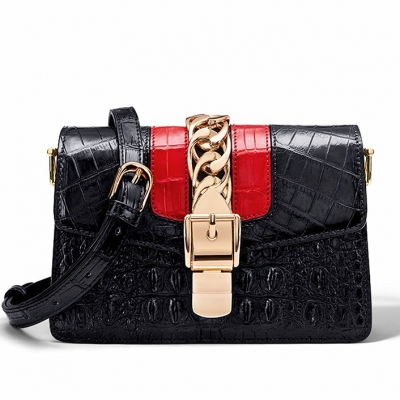 Stylish Crocodile Leather Strap Flap Shoulder Bag Crossbody Bag-Black