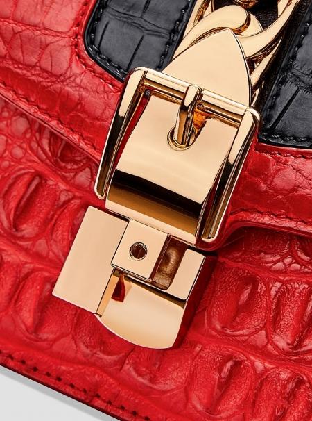 Stylish Crocodile Leather Strap Flap Shoulder Bag Crossbody Bag-Details