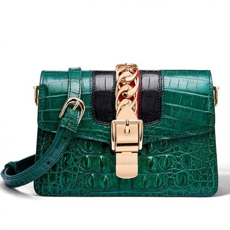 Stylish Crocodile Leather Strap Flap Shoulder Bag Crossbody Bag-Green