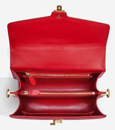 Stylish Crocodile Leather Strap Flap Shoulder Bag Crossbody Bag-Inside