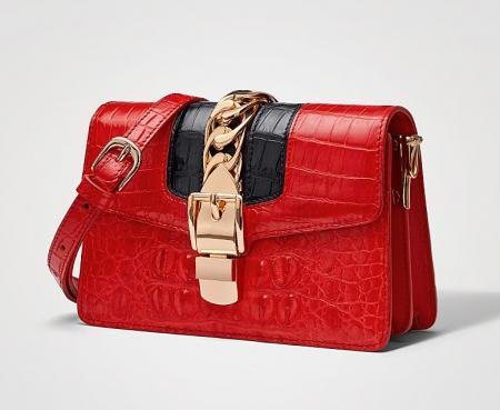 Stylish Crocodile Leather Strap Flap Shoulder Bag Crossbody Bag-Micro side