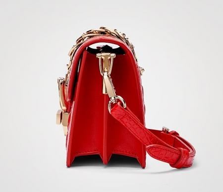 Stylish Crocodile Leather Strap Flap Shoulder Bag Crossbody Bag-Side