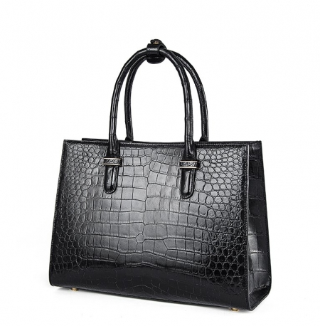 Womens Alligator Zipper Closure Tote Bag Alligator Shoulder Bag-Side