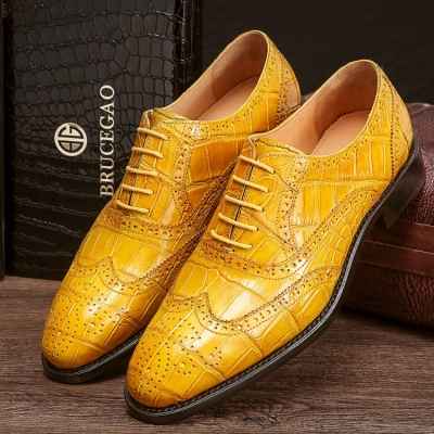 Alligator Wingtip Dress Shoes Goodyear Welted Oxfords
