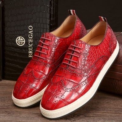 Casual Alligator Skin Oxford Brogue Wingtip Sneaker
