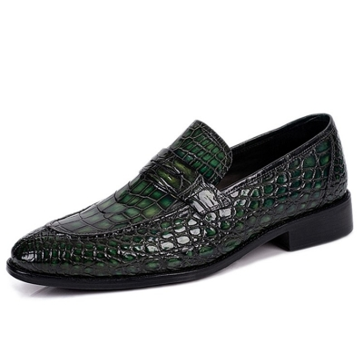 Classic Alligator Penny Loafer Business Shoes for Men-Green