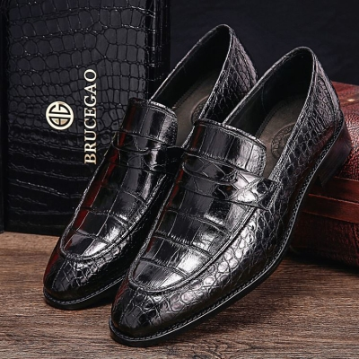 Handcrafted Genuine Alligator Leather Penny Slip-On Leather Lined Loafer-Black