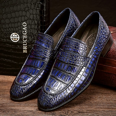 Handcrafted Genuine Alligator Leather Penny Slip-On Leather Lined Loafer-Blue